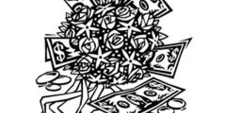 money and wedding bouquet