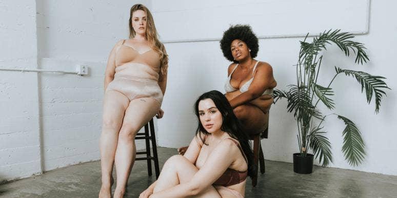 three women wearing underwear