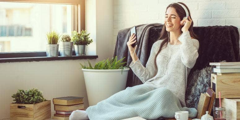 woman enjoying ASMR whisper relaxation videos