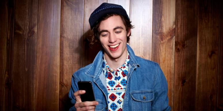 happy man texting