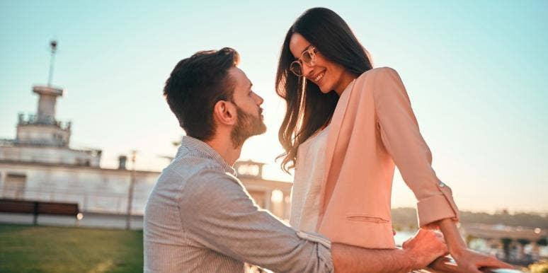 man staring intensely at a woman