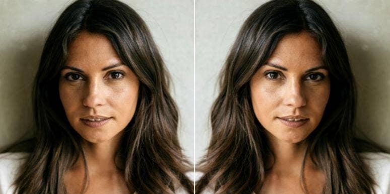 brunette woman smirking