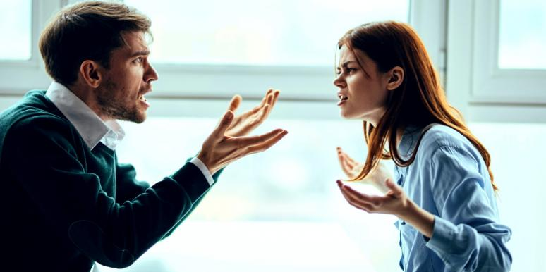 man and woman arguing about who is right