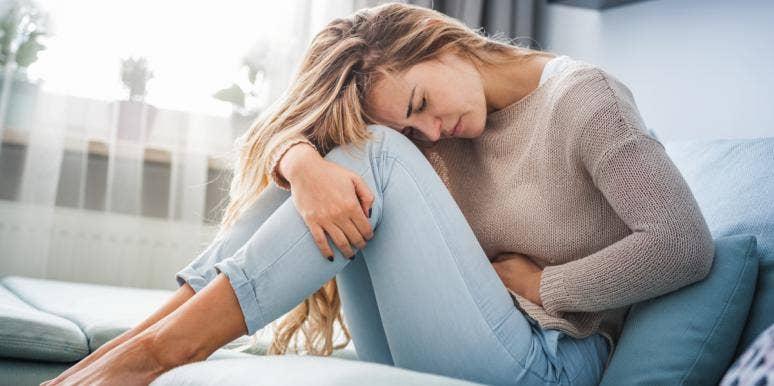 woman having period cramps