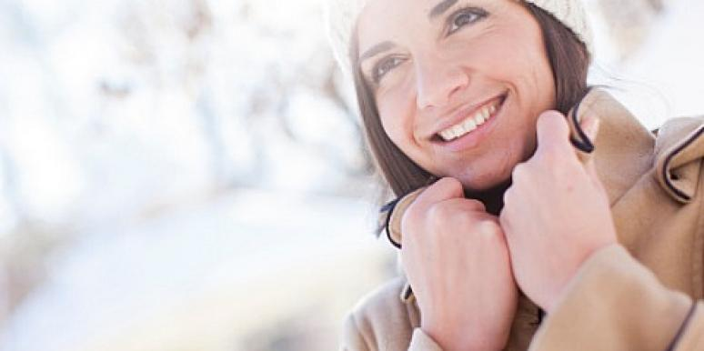 woman happy in winter