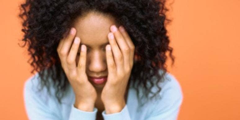 woman embarrassed mad sad