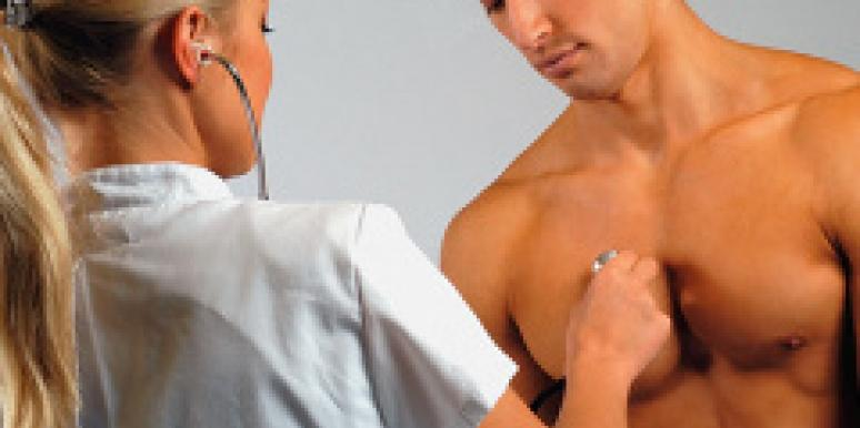 woman doctor with shirtless man