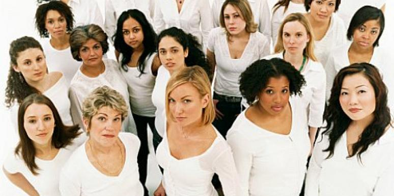 lots of women in white shirts
