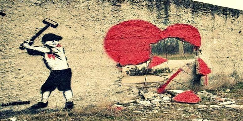 smashed heart street art