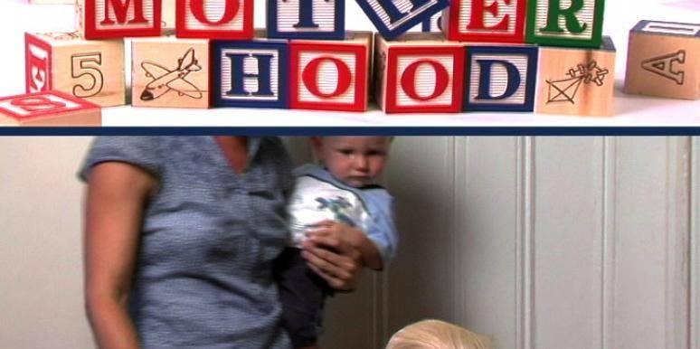 kid blocks baby with parent