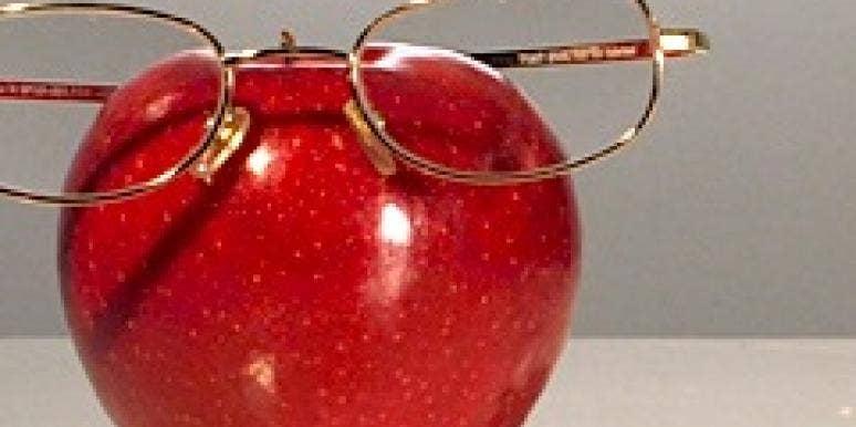 apple wearing glasses