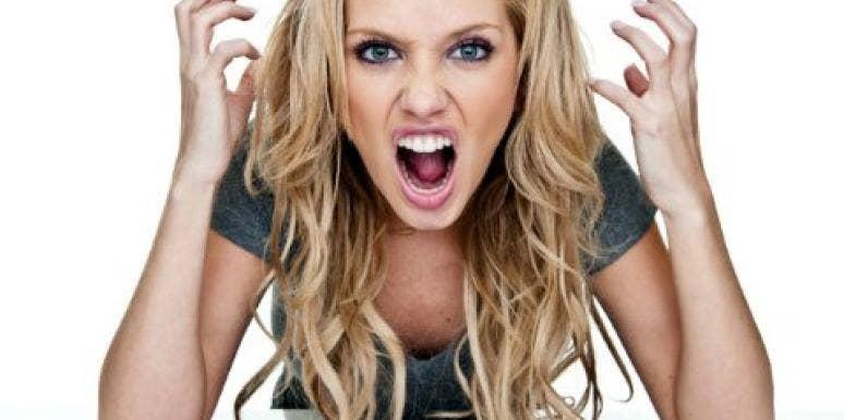 angry woman yelling keyboard