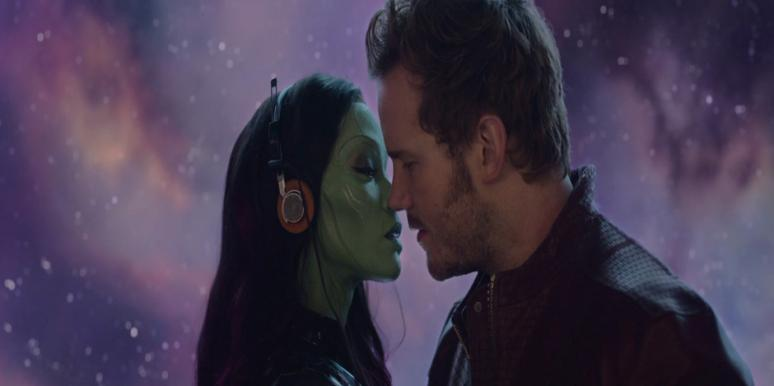 "Zoe Saldana as Gamora and Chris Pratt as Star Lord of the Marvel ""Guardians Of The Galaxy"" movie, about to kiss and consummate their romance"