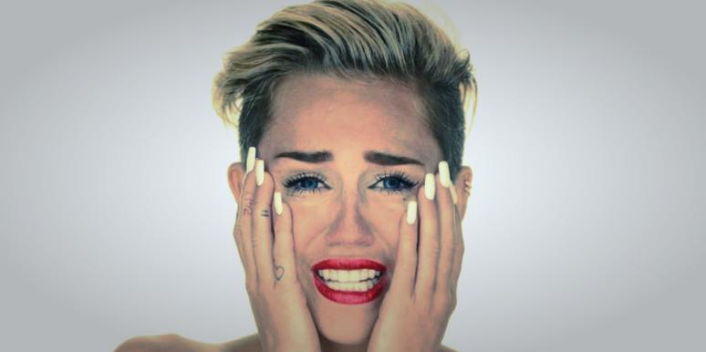 "Miley Cyrus naked and crying in her ""Wrecking Ball"" music video"