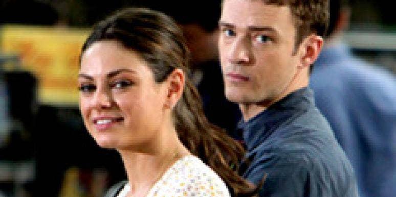 Justin Timberlake and Mila Kunis on set.