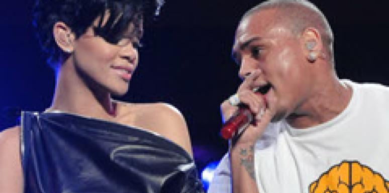 Rihanna and Chris Brown performing