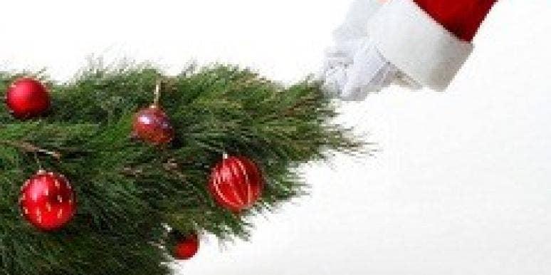 santa dragging tree