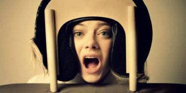 Emma stone getting a massage