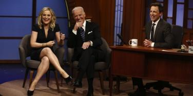 Amy Poehler, Joe Biden and Seth Meyers from The Late Night with Seth Meyers