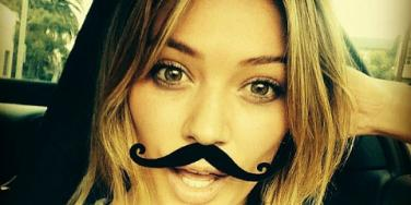 hilary duff with mustache