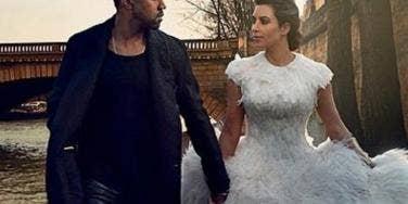 Kanye West and Kim Kardashian modeled several wedding looks for Vogue.