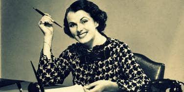 retro woman in office