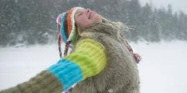 girl enjoying snow