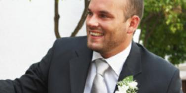 An excited groom on his wedding day.