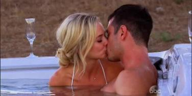 Ben and Lauren smooch in a hot tub that fell from the sky