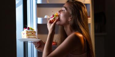 woman overeating