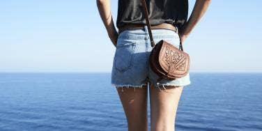 woman in jean shorts