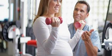 pregnant woman at the gym