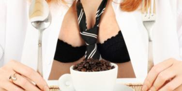 Woman with coffee and bikini
