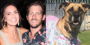 Matthew Field, Katherine Leadbetter, and their dog, Frankie