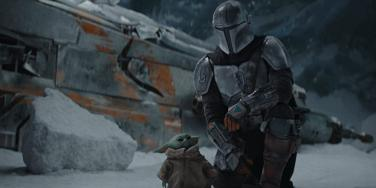 "Scene from ""The Mandalorian"" of Mando and Grogu"