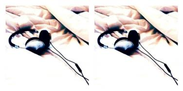 headphones lying on the bed