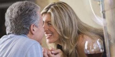 Affectionate older couple