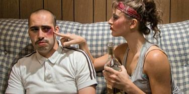 alcoholic woman picking on man