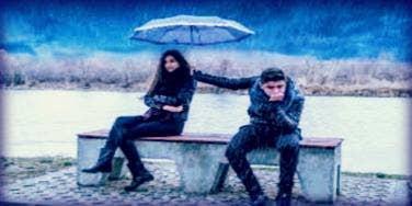 angry couple in rain