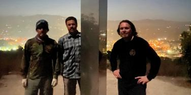 Wade McKenzie, Jared Riddle and Travis Kenney after installing the third monolith in California