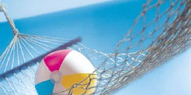Beach ball and hammock