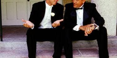 guys chatting before the wedding