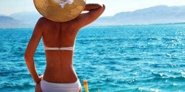 girl at the beach, in a bikini