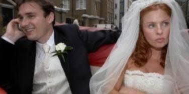 bride annoying groom wedding
