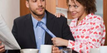 flirty office couple drinking coffee and juice