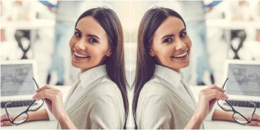 mirrored image of office woman