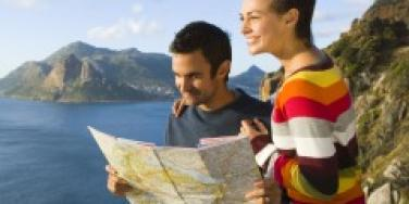 Couple reading a map