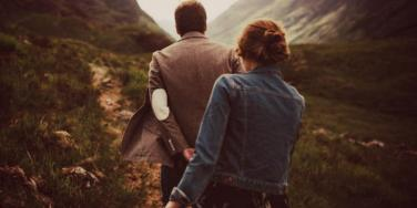 couple sneaking away