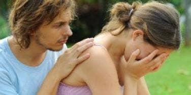 couple sad woman crying
