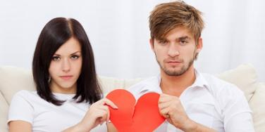 Couple with torn heart